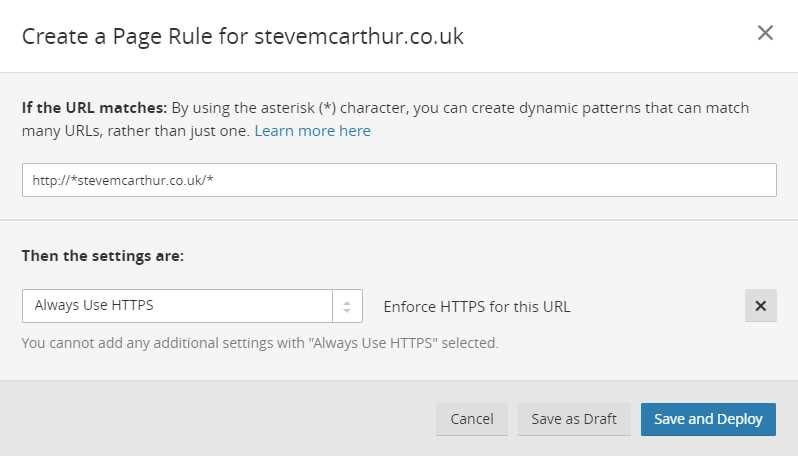 Page Rule for HTTPS